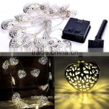 WarmWhite Solar Power String 12 Heart LED Lights Outdoor Xmas Christmas Decor