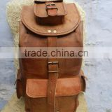 brown leather back pack/vintage style back pack/leather ruck sack