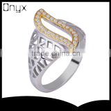 Pure silver hollow out life of tree branches net leaf ring with gold plated