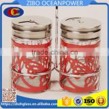butterfly design metal glass spice jar with stand