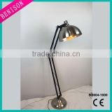 110V 220 Table lamp plug manual switch swing led high floor lamp black metal & electroplate silver lampshade lighting