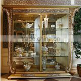 Luxury French Baroque Style Golden Four Door Glass Display Cabinet/ Gorgeous Home Decorative Cupboard Showcase/ Glass Vitrine