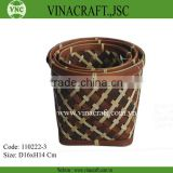 Pressed Bamboo Waste Basket in brown color