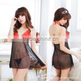 The new women's lingerie sexy pajamas condole thong dress sexy black gauze perspective