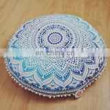 Indian Home Decor Decorative Throw Cotton Pillow Case Vintage Mandala Pouf Cover Handmade Ottoman Decor Footstool With Pom Pom
