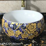 Bathroom sanitaryware ceramic european style round colorful tabletop wash hand basin sink