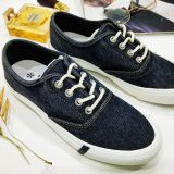Womens StacyLowery  Lace Up Casual Canvas Shoes Black Denim