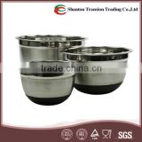 Stainless Steel Nesting Mixing Bowl Set/ Salad bowl with Plastic Lid and Flat Silicon bottom