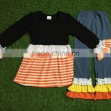 girls boutique clothes fall adorable children dress orange ruffle legging clothing set autumn spring fashion girls outfits