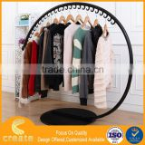 Heavy duty metal garment&clothes hanging display rack for new products with round modern design