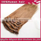 2015 factory price hot sale!!! full head full cuticle double weft clip in human hair extensions