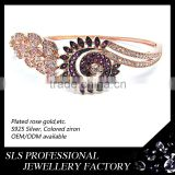 2015 Factory direct sale 925 sterling silver rose gold colorful CZ bangle from SLS jewelry