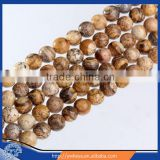 Brown Round Picture Jasper Beads Natural Stone Beads 8mm One Strand 15.5""