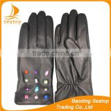 Black genuine leather gloves for women with diamonds