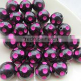 Halloween Black with Hotpink 12mm to 23mm hot selling chunky polka dot beads for jewerly making !