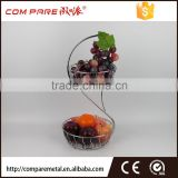 Iron Wire Apple Fruit Holder With 2 Baskets, Silver