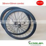 ruedas carbono 3k matte combo carbon wheels front 38mm and rear 50mm clincher
