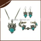 Hot selling Women's Necklace Earrings Bracelet owl Jewelry Set/