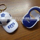 cute and durable plastic cap shape beer bottle opener keychain