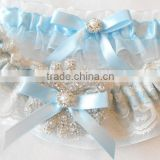 Wedding Garter Set Lace,Blue Ribbon Bow Lace Garter With Rhinestone Applique