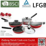 frypan saucepan wok with lid and bakelite handle red color