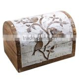 Store Indya Hand Carved with Bird Motif Distressed Wooden Keepsake Box Jewelry Trinket Chest Storage Organizer