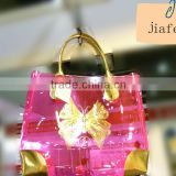 New design pink translucent PVC summer beach bag with PU corner and handle for towel an slipper