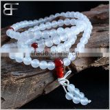 Tibetan Meditation Yoga Natural 108 Mala White Red Agate Beads Necklace Bracelet for Buddhist Prayer