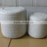 2016 Newest Round White Bamboo Box Set Of 2 With Lid from Vietnam for Home and furniture decoration