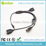 Lot of 4, converts an USB to Serial port (9 pin, RS-232, DB9) adapter cable, NEW
