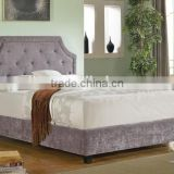 Modern Diamond Button Tufted Clipped Corners Biege Fabric Upholstered Queen Headboard and Bed(MB8013)
