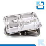 4 compartment stainless steel fast food tray & snack tray/plate