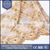 2016 best selling gold uk swiss lace wholesale embroidery stone work high quality african double organza lace fabric