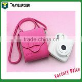 Pu Leather Camera Bag With Shoulder Strap For Fujifilm Instant Camera, Bowknot Bag(Pink)