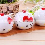 creative lovely cartoon kitty style ceramic seasoning spice bowl pot 3 in 1 set with spoon and wooden board