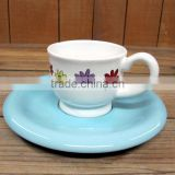 Wholesale Dream Flower Ceramic coffee cup with saucer