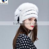TD1011 Korean Design Luxurious Natural Real Top Quality Pelt Mink Fur Women Hat with Fox Fur