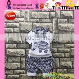 Hot Sale Elephant Printing Design Cheap Baby Boy Summer Clothes Set Wholesale