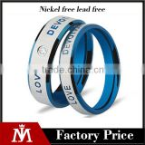 4-6mm simple cool high polished engrave 316L stainless steel wedding band ring for lvers
