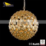 5 light wrought iron factory price round ball Electrolytic gold crystal chandelier