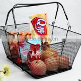Hangzhou Wholesales Fancy Metal Wire Mesh Hand Held Sundry Storage Basket/Shopping Basket
