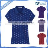 wholesale factory price custom full print polo tshirt short sleeve womens slim fit polo shirt