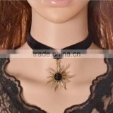 sun flower charm black velvet ribbon Gothic necklace custom woman ribbon choker necklace new Valentine jewelry gifts 2017