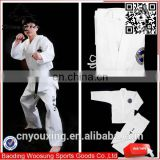 2016 high quality TKD ITF uniform with embroidery, white taekwondo uniform for competition