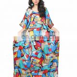 Casual Style Free Size Printed High Quality Japan Satin Silk Daily Wear Kaftan / Comfortable Round Neck Kaftan (kaftans 2017)