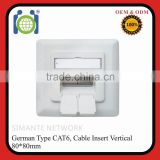 High quality Vertical Insertion 80*80 Germany Faceplate RJ45 Wall Socket                                                                         Quality Choice