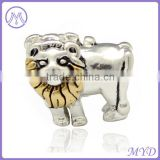 925 sterling silver gold lion king charm big hole bead for DIY European bracelet jewelry