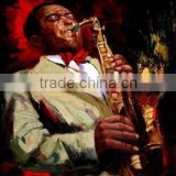 Shenzhen Dafen Wholesale Retailer Available Handmade Abstract Man Playing Saxophone Oil Painting