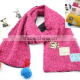 Fashion Cute Small Square Cloth Sewed Two-layer Pom Pom Style Boys Girls Baby Winter Scarf