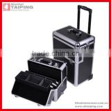 Aluminum professional style rolling train cosmetic makeup case Black